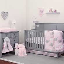 Crown Craft Nojo Dream Elephant Bedding Crib Set 8-Pieces Pink-Gray