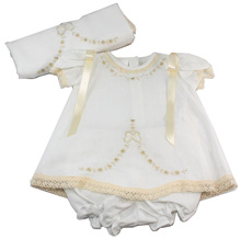 Karela Kids Linen Girl Dress with Lace and Blanket in White-Beige
