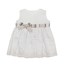Karela Kids Pique Dress with Ribbons White-Gray