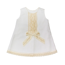 Karela Kids Pique Dress with Embroidery and Ribbons