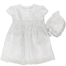 Karela kids Christening Dress with Bonnet White