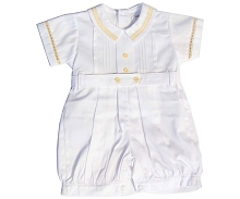 Karela Kids Pique Bubble Romper White-Beige