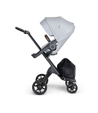 Stokke® Xplory® Black Chassis with Brown Handle Grey Melange