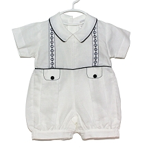 Karela Kids Linen Bubble Romper White-Navy