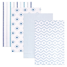 Hudson Baby 4 Pack Flannel Receiving Blanket, Boy Modern