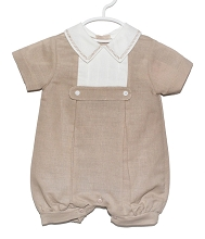Karela Kids  Linen Bubble Romper Camel-White