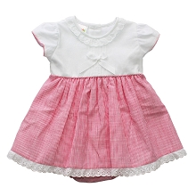 Karela Kids Pique Dress White-Fushia