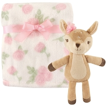 Hudson Baby Plush Blanket and Toy, 2-Piece Set, Girl Fawn