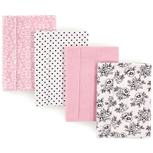 Hudson Baby Flannel Burp Cloth 4 Pack, Black and Pink Floral