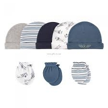 Hudson Baby Aviation 8 Pieces Cap and Mittens 0-6 Months