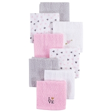 Hudson Baby 8 Pack Woven Terry Washcloths, Love