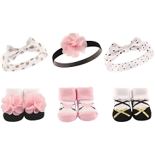 Hudson Baby Headband and Socks Gift Set 6 Pieces