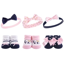 Hudson Baby Headband and Socks Gift Set- Navy Love
