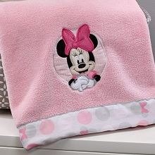 Crown Craft Minnie Polka Dot Plush Blanket
