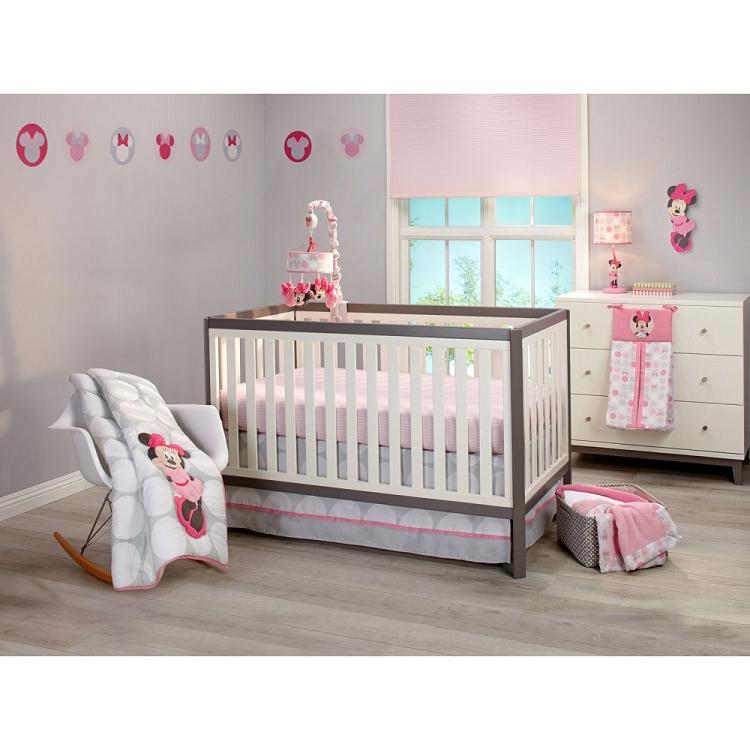 Crown Craft Minnie Mouse Polka Dot Bedding Crib Set 4 Pieces