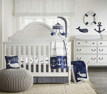 Wendy Bellissimo Landon Navy/White/Grey 4 Piece Crib Bedding Set
