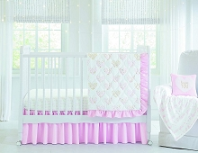 Wendy Bellissimo Bedding Crib Set 4 Pieces, Love You in Pink
