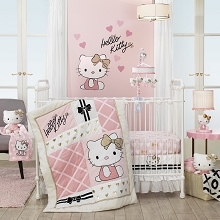 Lambs & Ivy Hello Kitty with Hearts Bedding Crib Set 3 Pieces