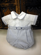 Will'beth Pinstripe Romper White-Blue
