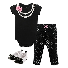 Little Treasures 3 Pieces Bodysuit, Pant & Shoes