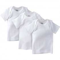 Gerber Pull On Shirt Short Sleeves 3 Pack, 0-3 Months, White