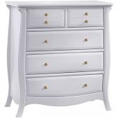 Natart Juvenile Bella 5 Drawer Dresser  Pure White-Gold