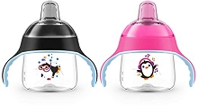 Avent 2 Pack My Penguin Sippy Cup 7oz, 6m+, Pink-Black