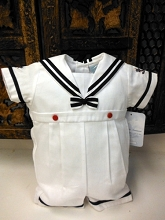 Will'beth Sailor Romper Boy White-Navy