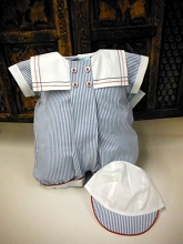 Will'beth  Romper Pinstripe with Hat, Blue-White