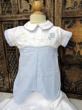 Will'beth Gingham Kite Romper White-Blue
