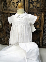 Willbeth Smocked Romper Boy White