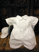 Will'beth Boy Romper with Hat White