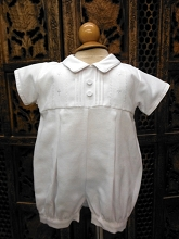 Will'beth Christening Boy Romper-White
