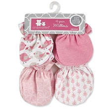 Baby King Cribmates Butterfly Scratches Mittens 4-Pack Pink