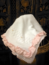 Will'beth Sweet Knit Blanket White-Pink