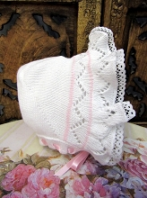 Will'beth Knit Baby Bonnet  0-3 Months
