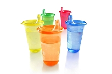 Nuby  Wash or Toss™ Reusable Cups  with Lids- 6 pack