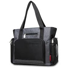 Fisher Price Deluxe Diaper Bag 3-Pieces Set Stripe Black-Grey