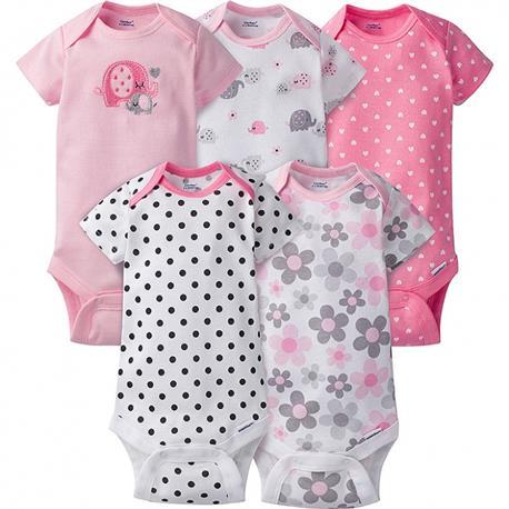 Gerber Unisex Boy//Girl Short Sleeve White Onesies Baby Clothes Piece Underwear