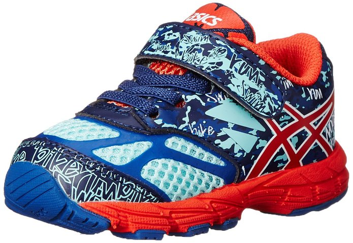 Asics 60% Off Noosa Tri 10 TS Running Shoes , Kids - Blue/Cherry Tomato/Aqua