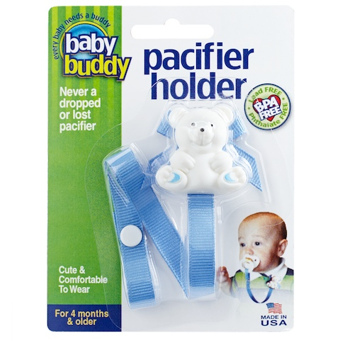 Baby Buddy Bear Pacifier Holder Light Blue