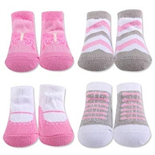 Baby Essentials Chevron Butterfly Socks Gift Box 4-Pack Pink