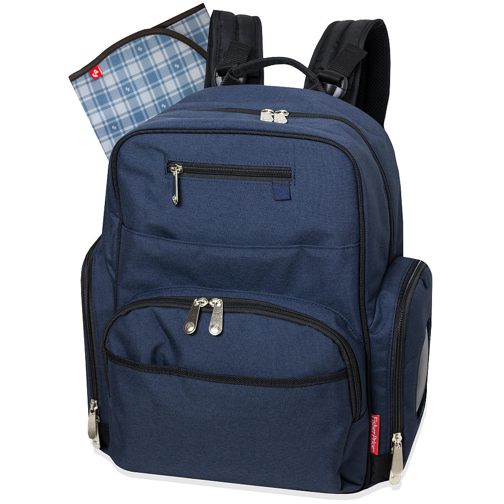 fisher price blue denim deluxe backpack diaper bag ideal baby. Black Bedroom Furniture Sets. Home Design Ideas