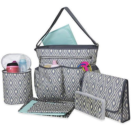 Baby Essentials Grey Diamond 8 In 1 Print Tote Diaper Bag