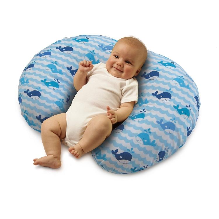Boppy Slipcovered Pillow Whale Blue
