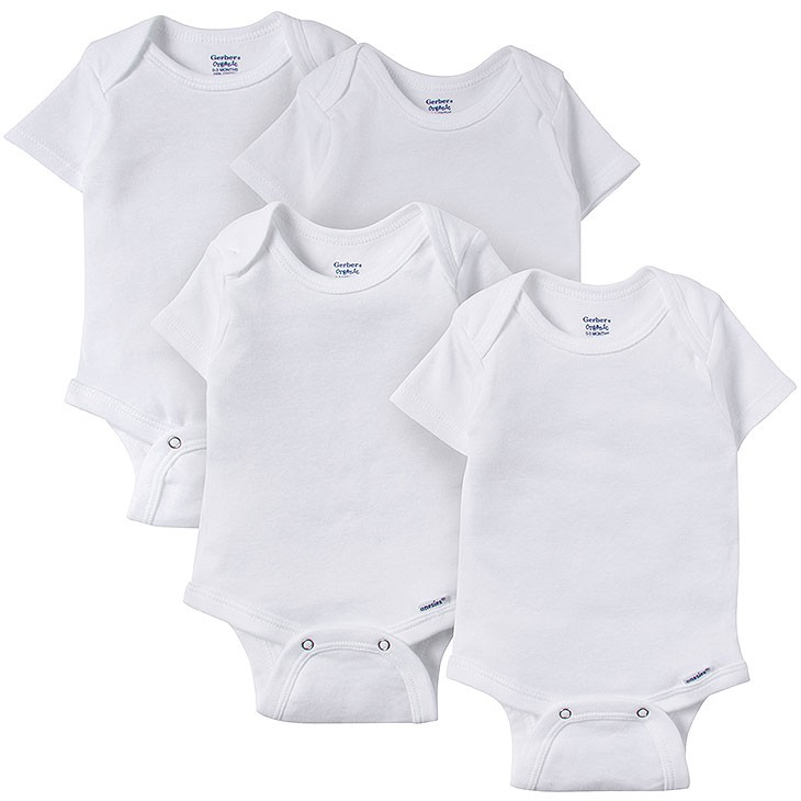 f316c2b045f4 Gerber 4-pack Organic White Onesies® Brand Short Sleeve Bodysuits ...