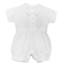Karela Kids Pique Bubble Romper  Boy-White
