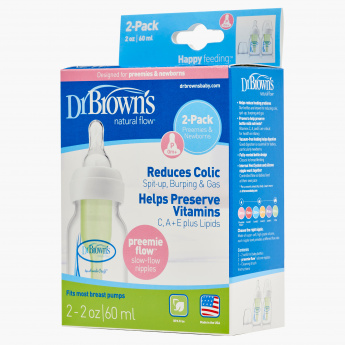 Dr Brown/'s Preemie Premature Early Baby Narrow Anti Colic 60ml //2oz Baby Bottle