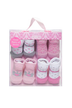 A.D.Sutton Damask Booties Gift Box 4-Pack