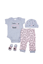 Baby Essentials Heart is Full  4 Piece Layette Set Pink